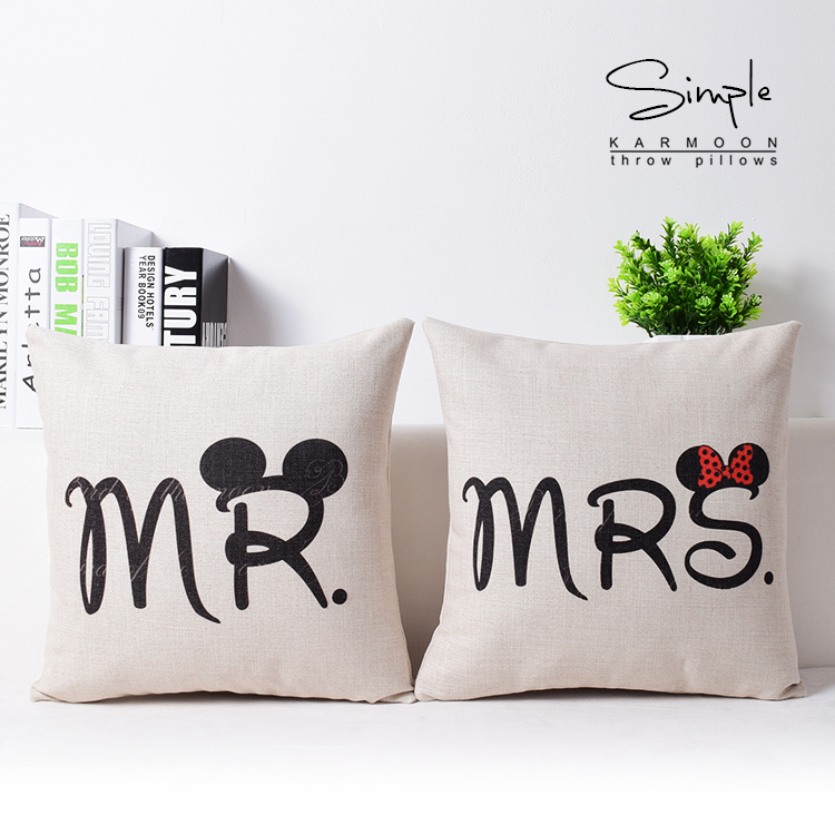 2 styles Mr and Mrs Sofa Cushion Covers Micky Mouse Pillows Cover case Wedding Gift Chair Decoration Kids Favor Free shipping(China (Mainland))