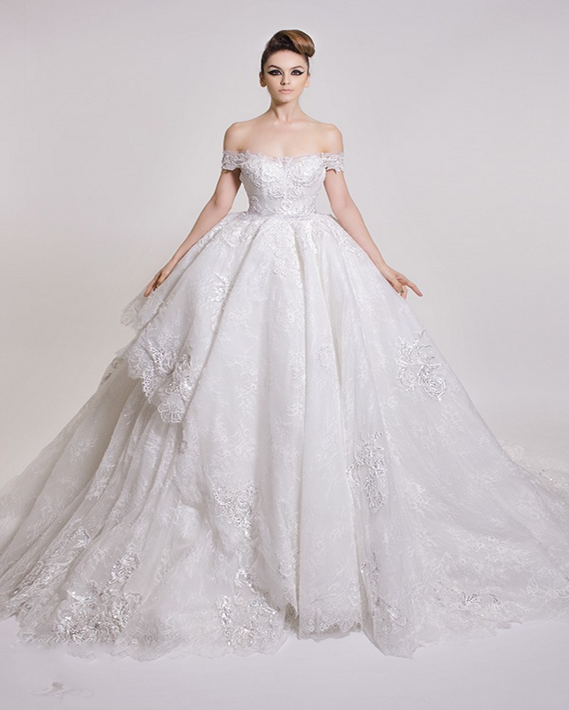 Ball Gown Wedding Dresses Off Shoulder Sleeves : Amazing lace ball gown wedding dress sexy off the