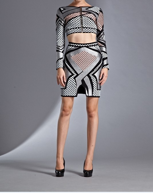High Quality 1:1 Silver Colour Ladies HL Bandage Dress Long Sleeve Two Pieces Sexy Mini Dress Evening Party Dress WholesaleОдежда и ак�е��уары<br><br><br>Aliexpress