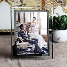 Glass Photo Frame Picture Frame Decoration Accessories Stereo Roses Decorated Crystal Glass Photo Frame(China (Mainland))