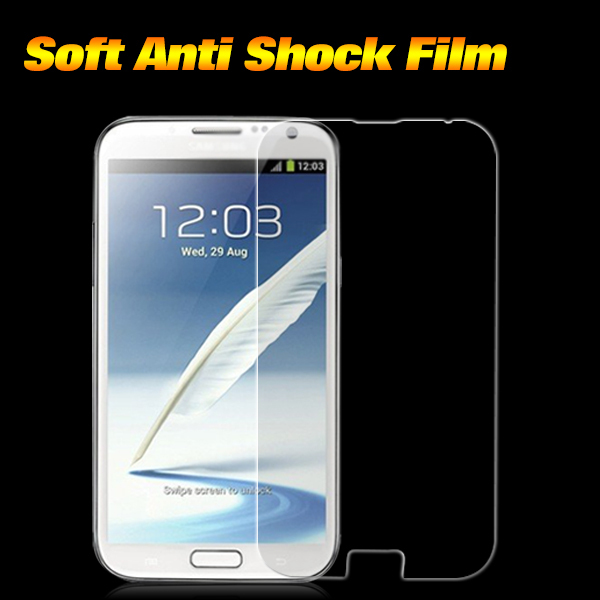 Premium TPU Anti-Shock Screen Protector for Samsung Galaxy Note 2 II N7100 Anti-shock Mobile Screen Guard for Note 2 3pcs/lot(China (Mainland))