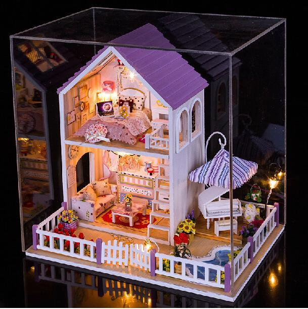 New Hand-assembling Model Buliding Kits Wooden 3D Big DollHouse Kids&Lover Best Gift DIY Hobbies 3D Doll House Toy W/ Furnitures(China (Mainland))