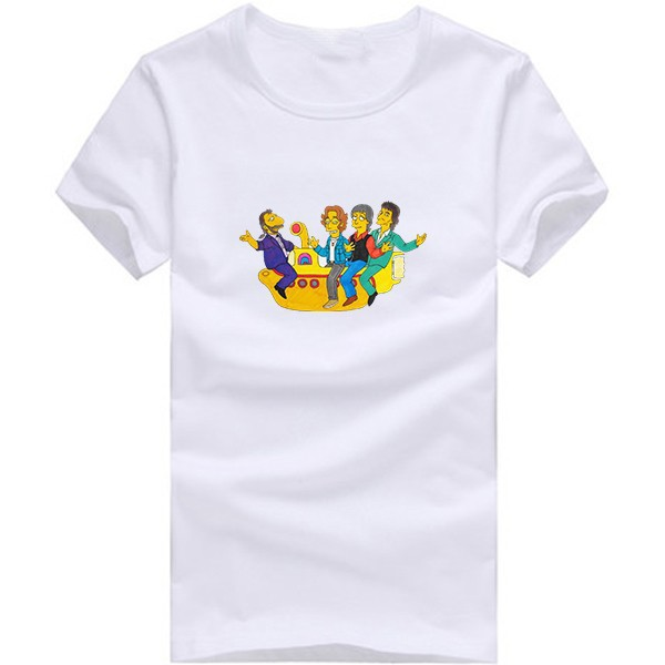 The Beatles Printed T shirt Men Short Sleeve Male Cotton Casual Fashion the simpsons beatles T-shirt Tee(China (Mainland))