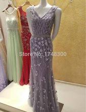 Sexy V Neck Mermaid Prom Dress 2016 Long Formal Evening Gowns Custom Made Summer Lady Fashion Dubai Luxury Party Dresses Hot(China (Mainland))