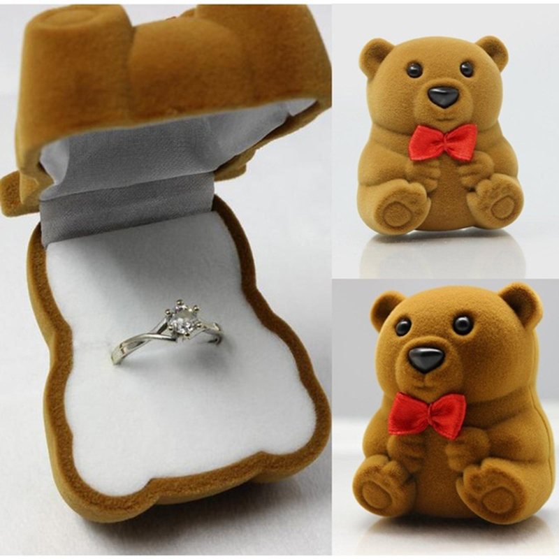 Hot Sale lovely Bear Wedding Necklace Jewelry Ring Gift Case Jewelry Ring Storage Boxes Free Shipping(China (Mainland))