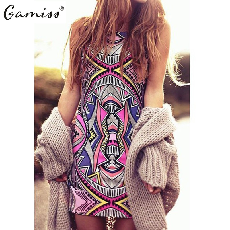Gamiss 2016 Summer Style Women New Fashion Vintage Geometric Print Mini Boho Dress Sexy Casual Party Beach Dresses Plus Size(China (Mainland))