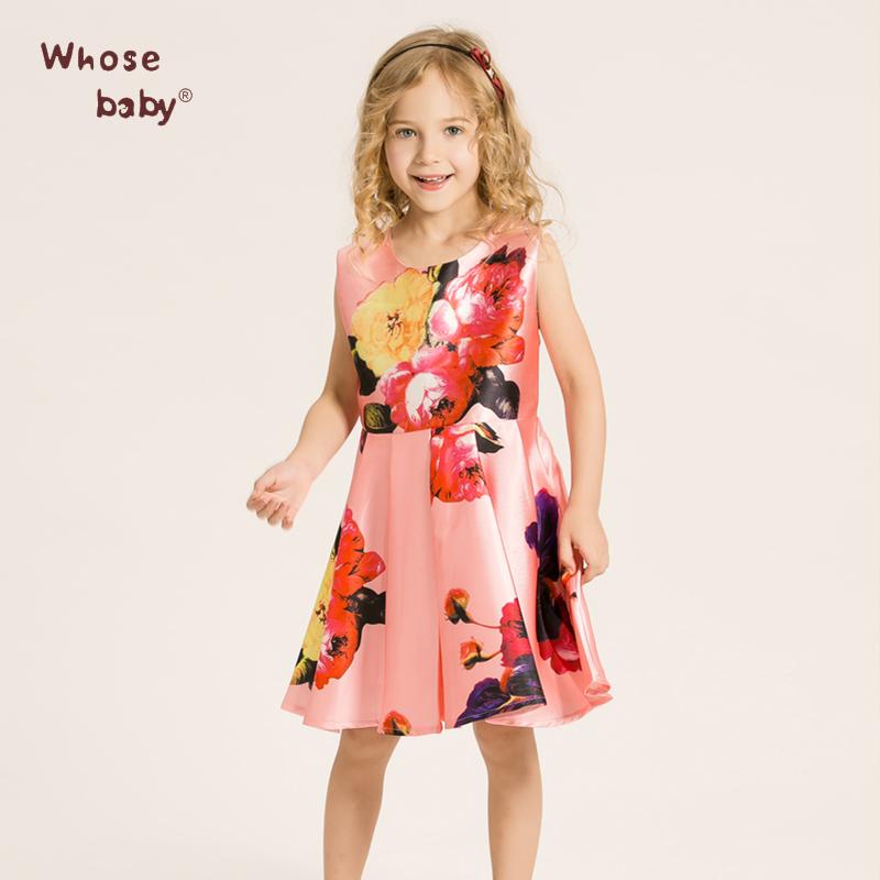 Whosebaby Regular Sleeveless Girl Pink Dress Cute Cotton O-neck Knee-length Floral Print A-Line Draped Polyester Dresses(China (Mainland))