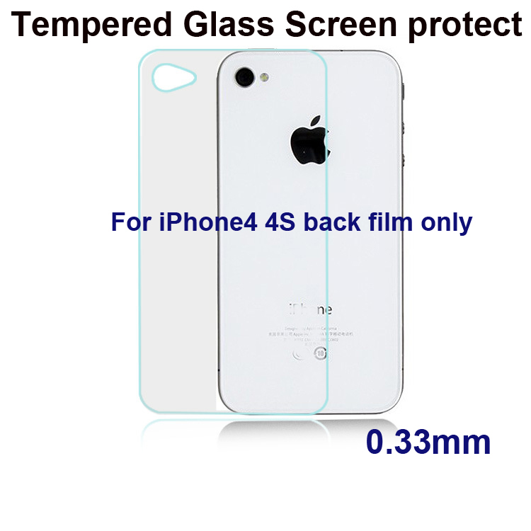 2014 High quality 0.33mm Back Premium Tempered Glass Screen Protector for iPhone 4 4s Protective Film Free Shipping(China (Mainland))