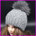 Top Quality New Fashion Lady Skullies Beanies Winter Hat Cap With Real Fur Pom pom Ball