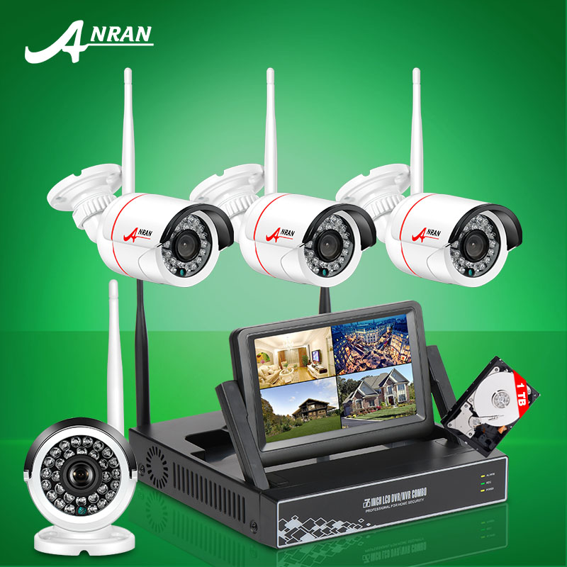 "ANRAN New Listing Plug and Play Wireless Security System 4CH 7"" LCD NVR Kit 1TB HDD 720P HD Outdoor IP WIFI Surveillance Camera(China (Mainland))"