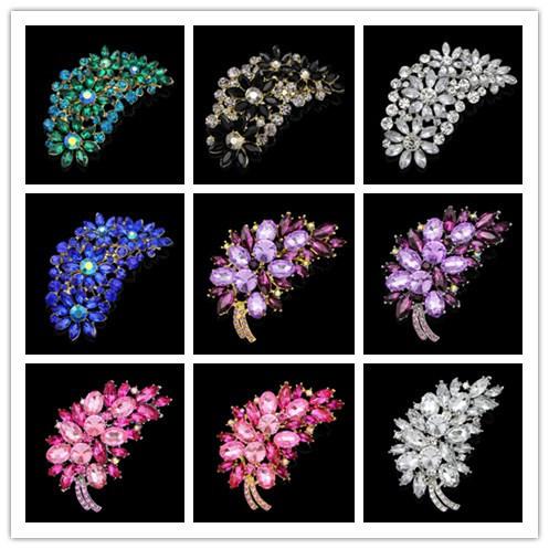 leaf brooches for wedding big crystal Brooch flower Rhinestone Bouquet Accessories for Wedding ceremony(China (Mainland))
