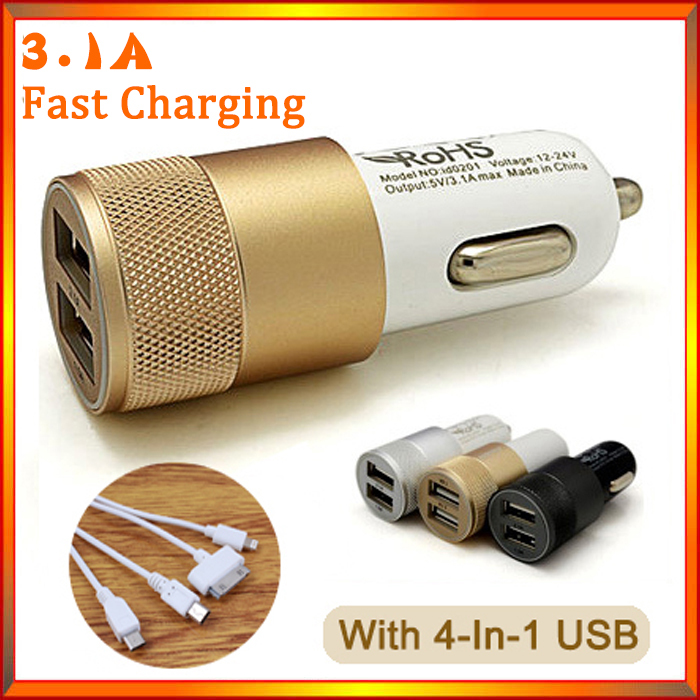 3 1A Dual USB Car Charger Alloy 2 Port Universal Fast Charging For Ipone 5 5s