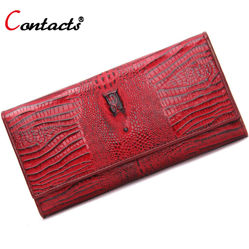 CONTACT'S Genuine Leather women Wallet Female Purse card holder clutch Coins Wallet Bag top sell designer Red Alligator 2017(China (Mainland))