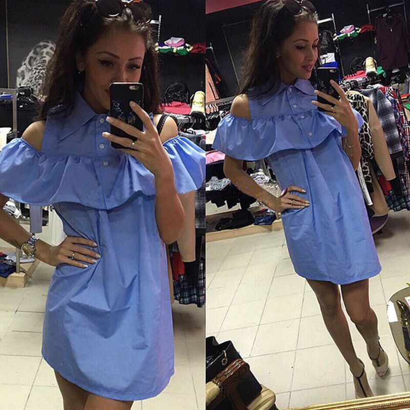 Playsuit 2016 summer women's fashion casual blue dress Bodycon Frill shoulder dress casual wear tube Vestidos Robes(China (Mainland))