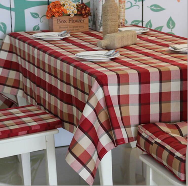 Free shipping fashion and classic big red plaid Table Cloth tablecloth table cover 100% Cotton High quality Scotland style(China (Mainland))