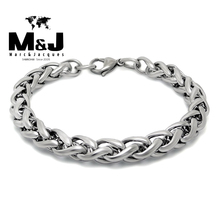 2015 new sale Spiga Plait stainless steel bracelet charms punk rock men jewelry wholesale STB2-001(China (Mainland))