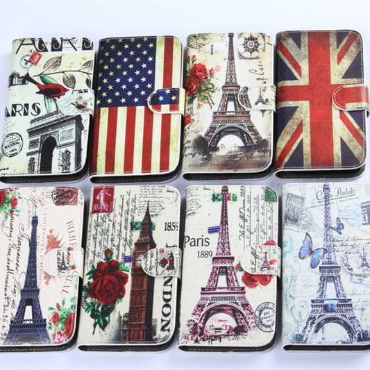 Cute Tower Flag Printing PU Leather Wallet Case for Samsung galaxy S5 mini G870A G870W SM-G800 Flip Cover Cell Phone Pouch(China (Mainland))