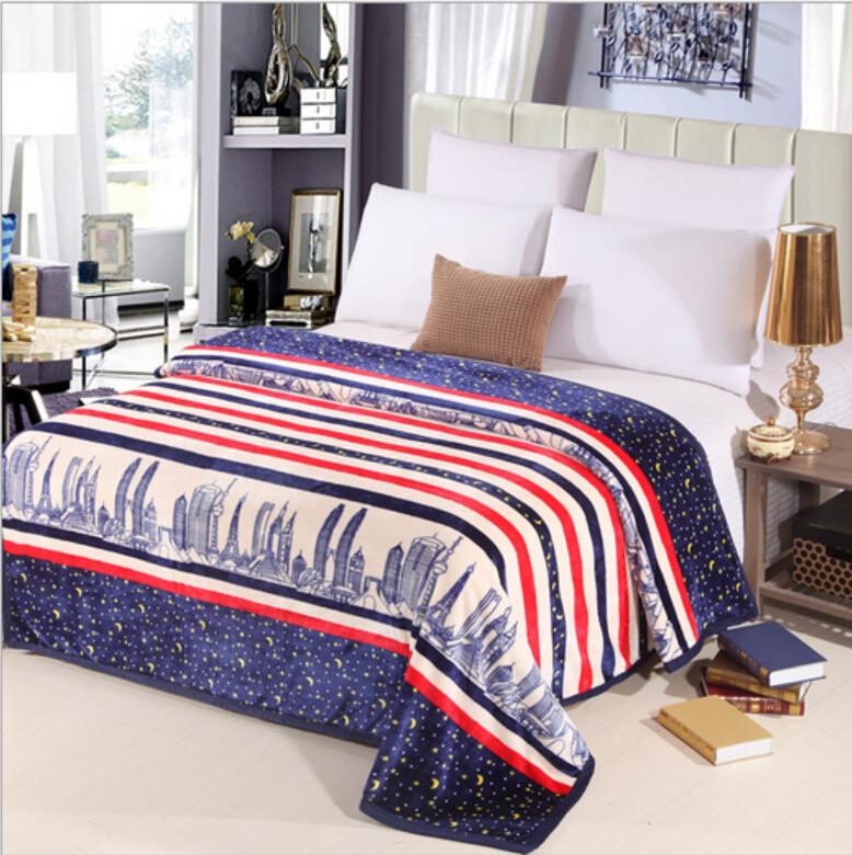Зима чехлы для кровати полоса мягкая трикотажные носимых одеяло домашний