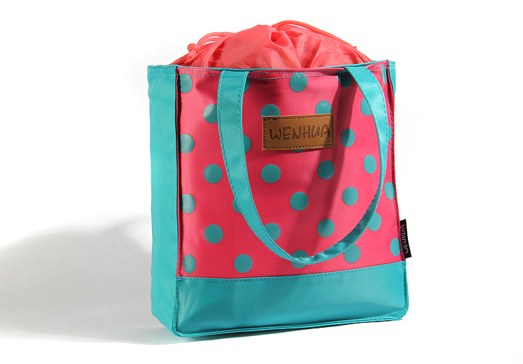 MN325 Women's Dots Insulated Lunch Bag Ladies Functional drawstring Thermal Bags Child Cooler Bag for Picnic Bag Fridge Sacoche(China (Mainland))