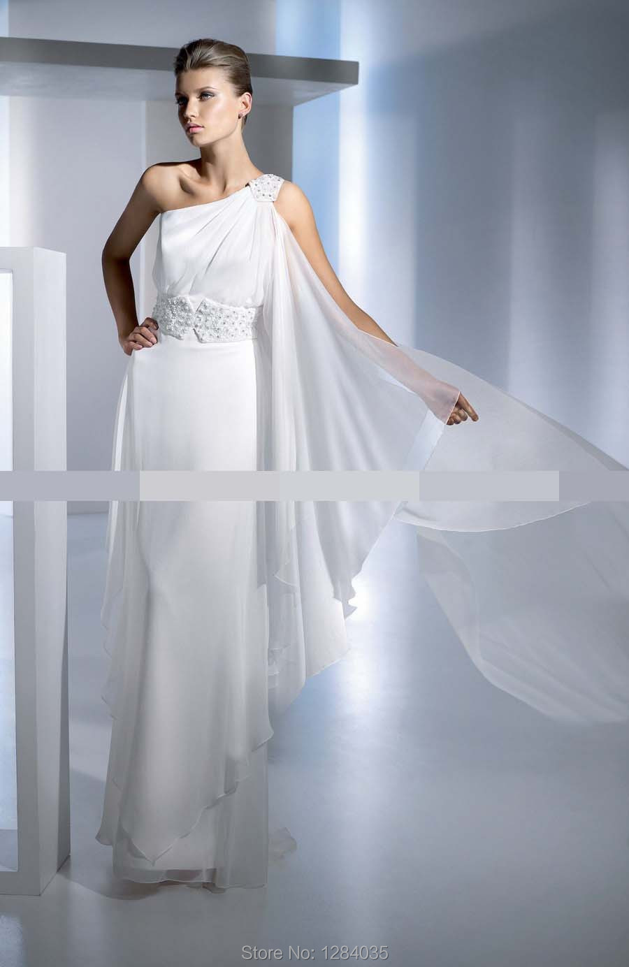 Cheap Chiffon Split Front Wedding Dress Popular Greek