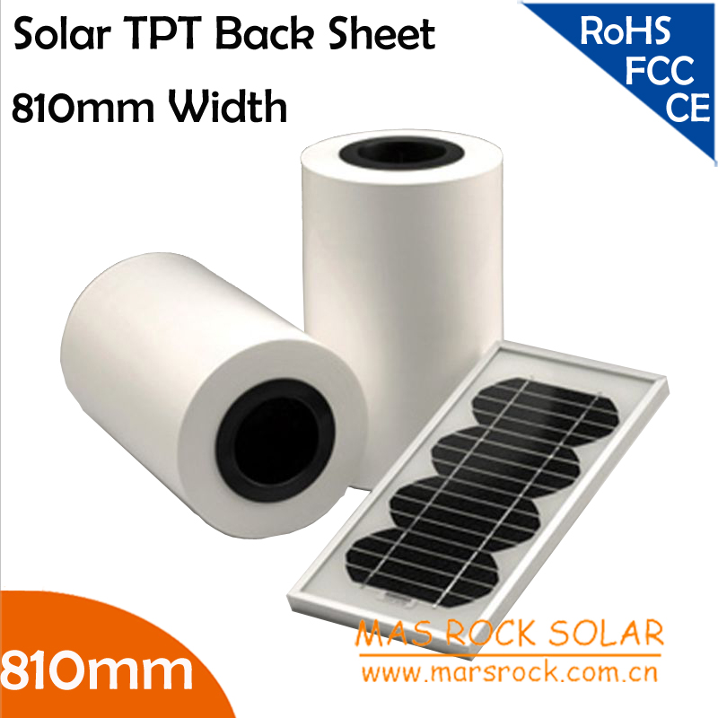 50 meters Wholesale 810mm Width 0.3mm Thickness Solar Back Sheet , TPT Solar Panel Module Encapsulation Material, TUV, CE, UL(China (Mainland))