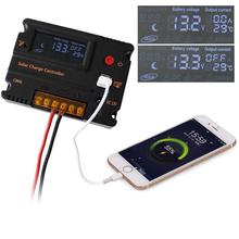 LCD Solar Panel Battery Regulator Charge Controller 12V 24V PWM Dual USB 5V DC 12V output