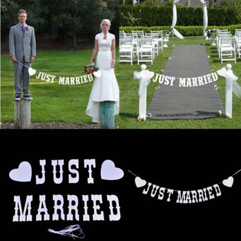 Just Married Vintage Wedding Bunting Banner Photo Booth Props Garland Bridal Shower wedding decoration Free Shipping(China (Mainland))