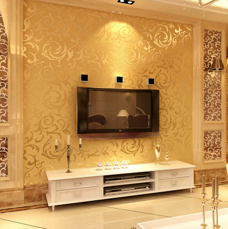 great wall non woven black white silver gold wallpaper