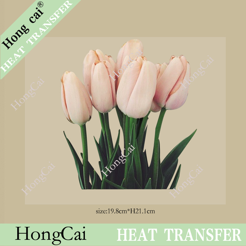 Wholesale Pink tulip flower thermal transfer printing patch Pu Flex Heat Transfer-film = Super washable custom decals pyrography(China (Mainland))