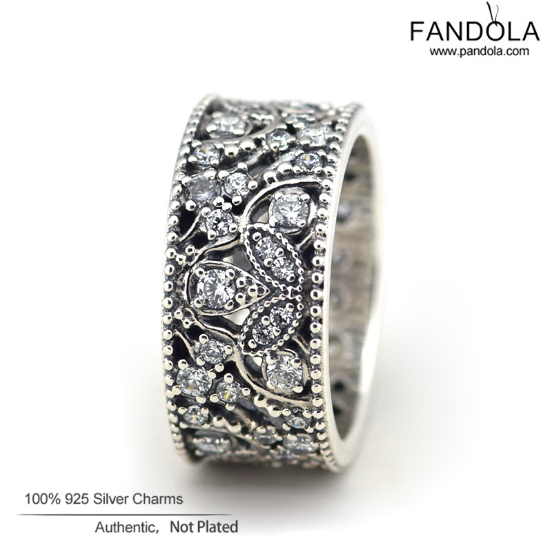 Compatible With Pandora Jewelry 925 Sterling Silver Rings for Women Shimmering Leaves Silver Ring with Clear Crystal Wholesale<br><br>Aliexpress