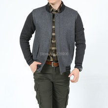 2015 Spring Men Wool Knitted Patchwork Jackets And Coats AFS JEEP Slim Overcoat Jacket Plus Size 3xl Casual Loose Coat for Men(China (Mainland))