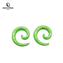 Hot 1Pair Body Jewelry Green Acrylic Snail Spiral Taper Tunnel Ear Stretcher Plugs Expander Pircing SPA 003 PG - Punk store