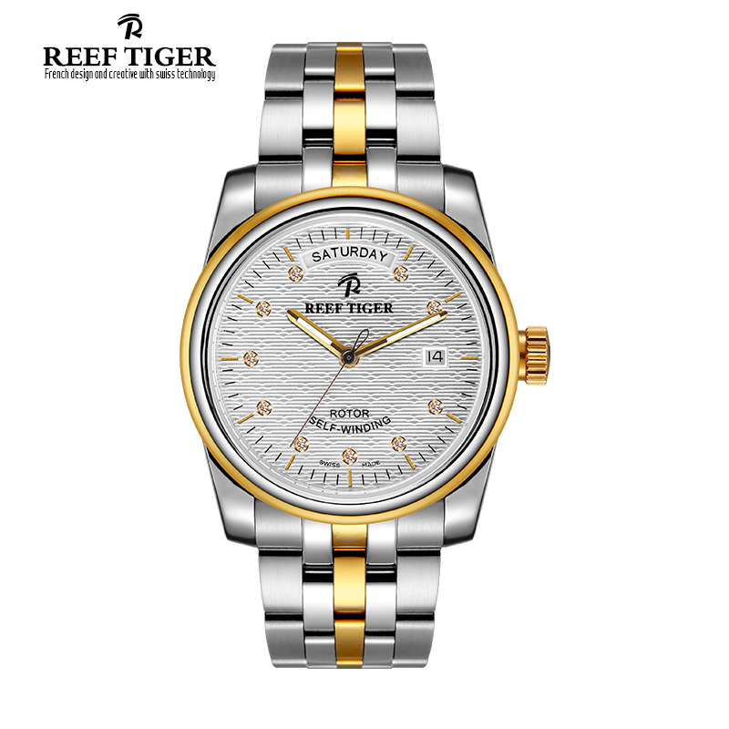 Fashion Brand Luxury Automatic Two Tone Watches Reef Tiger Classico Perpetual Day-Date Fashion Dress Diamonds Markers RGA828<br><br>Aliexpress
