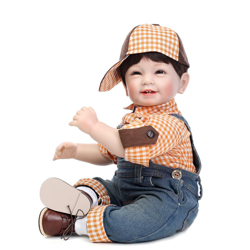 55cm 22silicone reborn babies dolls lifelike real boy baby live bonecas toys for children<br>