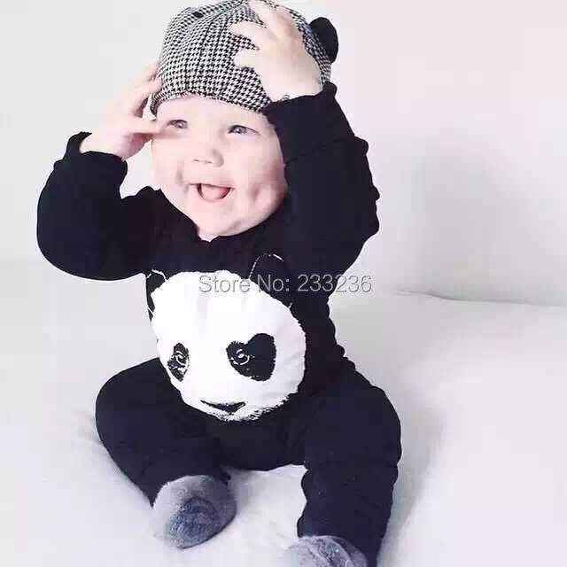 2016 autumn cool baby boy clothes Long sleeve cartoon Panda baby girl clothing set newborn clothes infant jumpsuit(China (Mainland))
