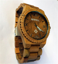 Luxury Bewell Wooden Watch Men Eco Friendly Wristwatch Relogio Quartz Movement Green Sandal