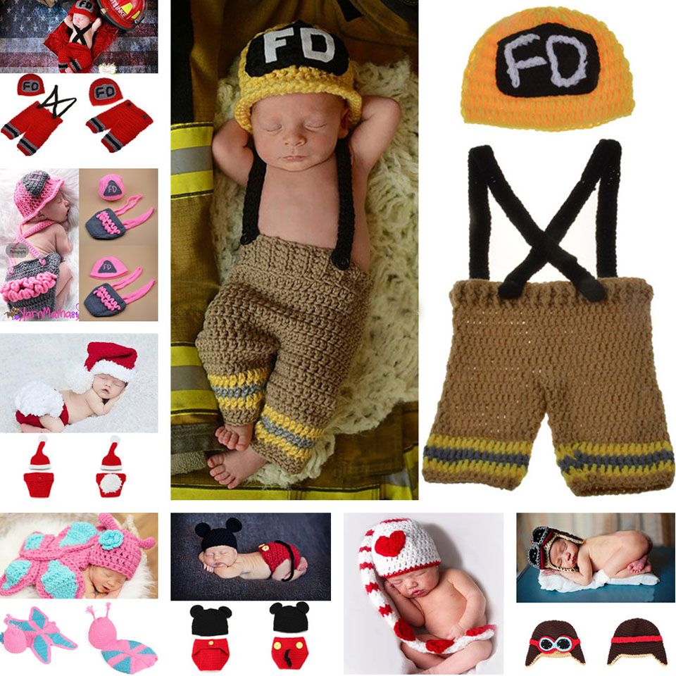 Baby Handmade hat suit Infant BABY Knitted Hat Crochet Photo Props Baby Boy Girl Knitted Firemen Costume MZS-15037-J(China (Mainland))