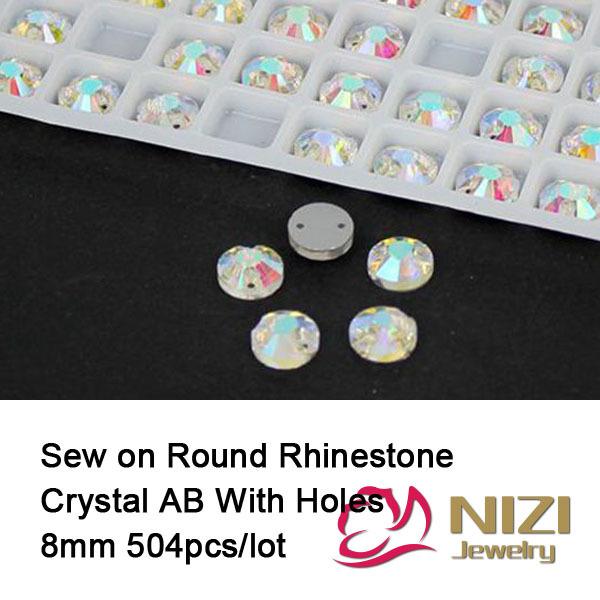 Rhinestones 8mm Flatback Crystal AB Sewing Glass Rhinestone Round Shape Sew On Rhinestones For Fashion New Strass For Dress<br><br>Aliexpress