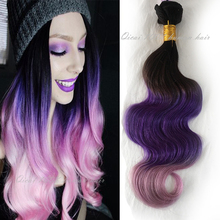 Ombre 3 Tone 1b Purple Pink Hair Weave Brazilian Virgin Remy Human Extensions Bundles Body Wave Weaving - Qingdao Qicai Products Co.,Ltd store