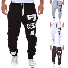 Outdoor Men Sport Loose Pants New York Letters Printed Pant Comfortable Sweatpants Joggers Male Cotton Lace-up Pants Trouser(China (Mainland))