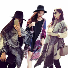 "Stylish 2015 winter 3colors pashmina Women""s Large Tartan Scarf Shawl Stole Plaid Woollen Cloth Tassels Scarf clothes"