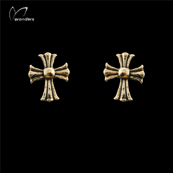 30pairs/lot 2015 Women Men Gothic Jewelry Gold Silver Fashion Personality Tiny Roman Cross Stud Earrings<br><br>Aliexpress
