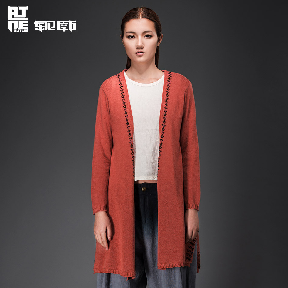 Outline 2015 Spring Bohemian Long Sleeve Cardigan Sweater Loose Plain Weave Abstract Pattern Impression Woman Coat L151M002(China (Mainland))