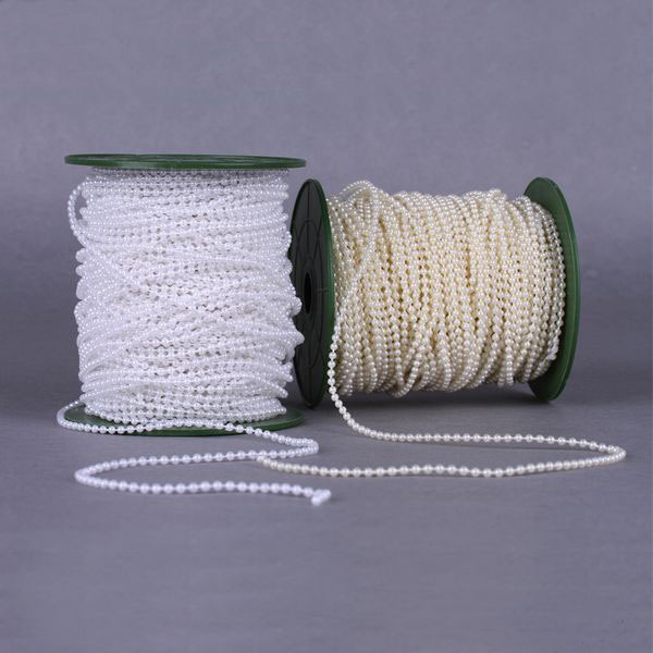 Roll 50Meters Length 3MM White Beige Artificial Pearls Bead Garland Spool Rope Table Centerpiece Wedding Party Home Decoration - MCCYY WEDDING store
