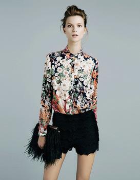 Women Fashion Flower Prints Casual Shirts Ladies Blouse, SW1006-J02