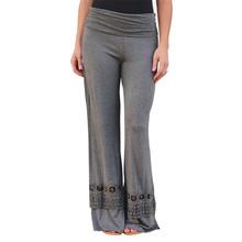 2015 Women Ladies Vintage Loose High Waist Long Trousers Lace Patchwork Casual Cotton Palazzo Pants Wide Leg Pants pantalones(China (Mainland))