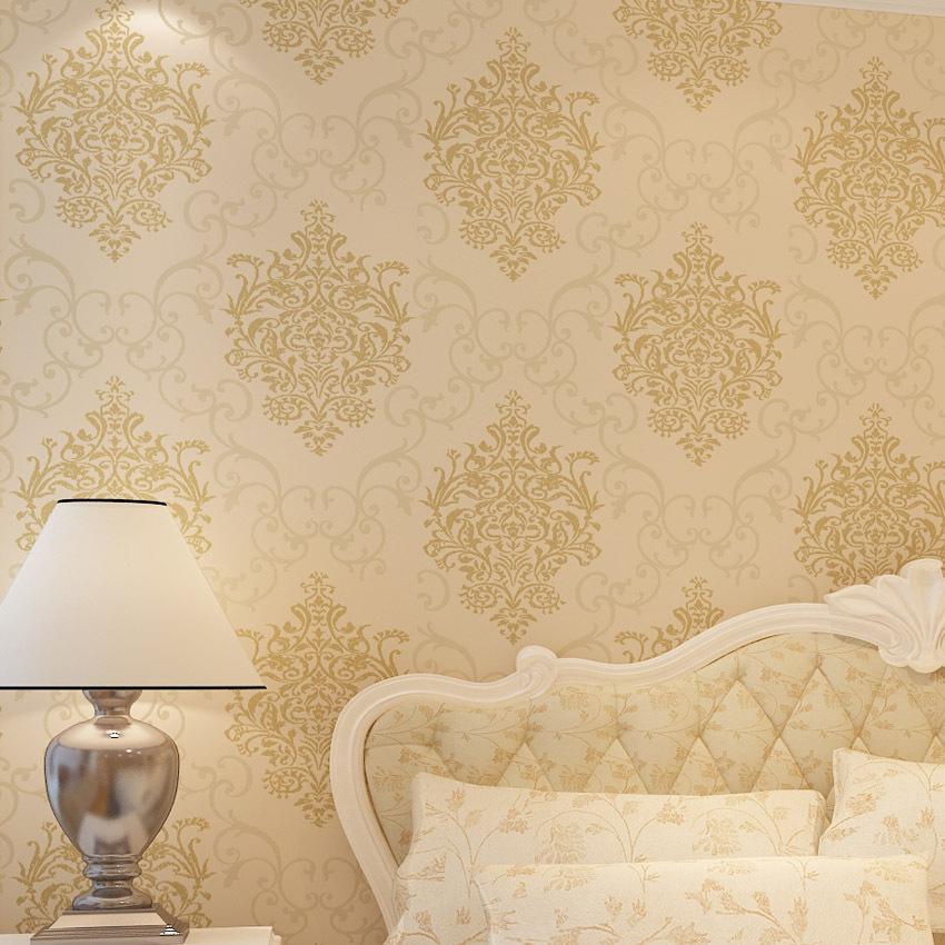2015 nuovi arrivi il giallo carta da parati tessuto non - Carta da parati in camera da letto ...