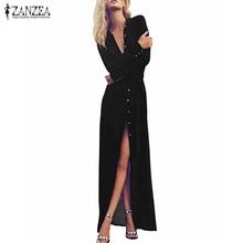 Buy Vestidos 2017 Summer Women Casual Loose Long Sleeve Dress Sexy Ladies High Waist Retro Long Maxi Beach Chiffon Solid Dresses for $11.21 in AliExpress store