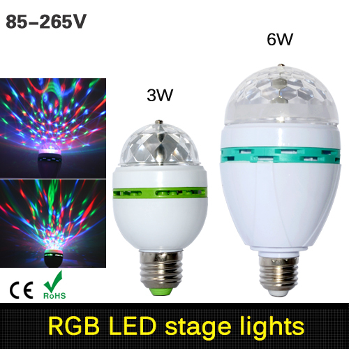 1Pcs Full Color 3W 6W RGB E27 LED Crystal Stage light Auto Rotating lamp AC 85 - 265V Laser Disco DJ Party Holiday Dance bulb(China (Mainland))