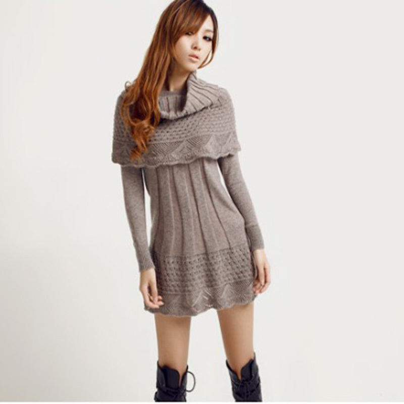 Knitting Pattern Jumper Dress : Autumn Winter Womens Dress Suit Fashion Style Knit Sweater Dress Long Sl...